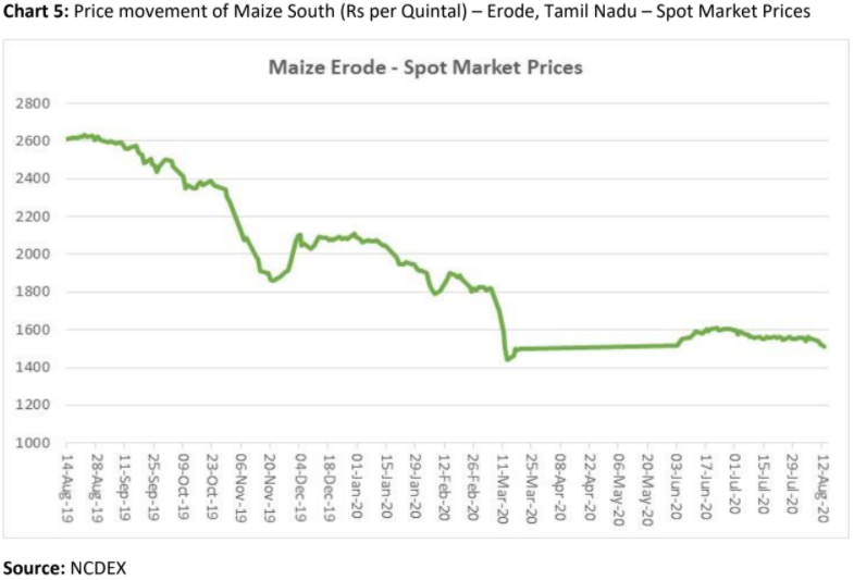 price movement of maize south in erode, tamil nadu