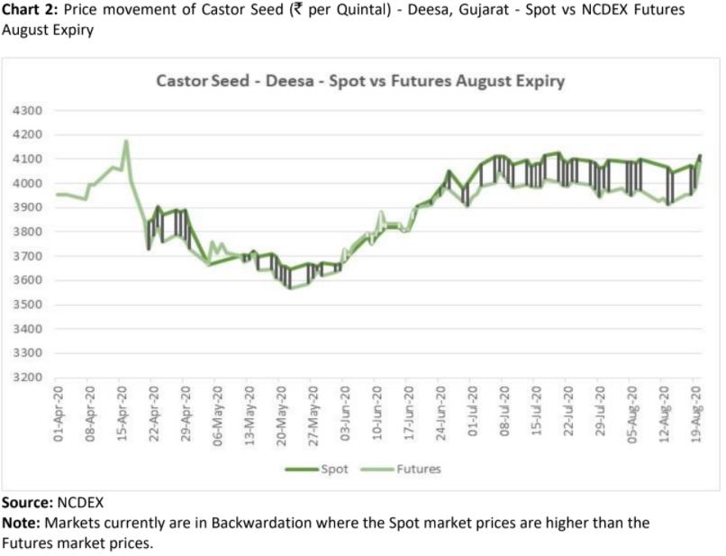price movement of castor seed in deesa, gujarat