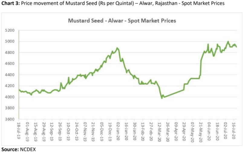 price movement of mustard seed in alwar, rajasthan