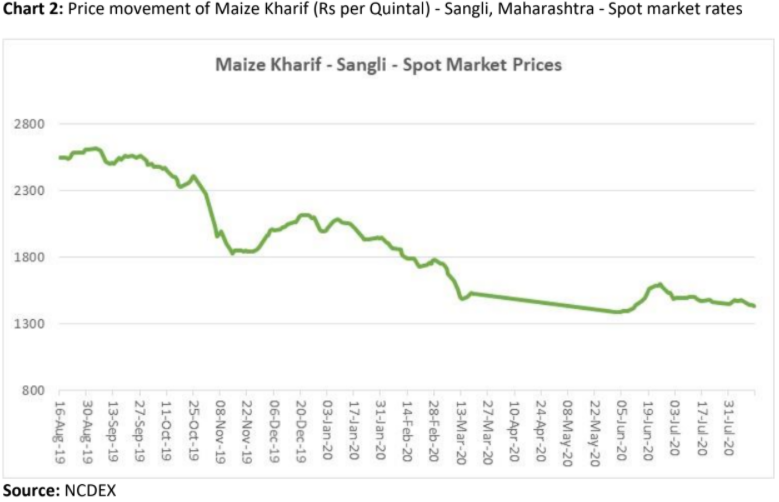 price movement of maize kharif in sangli, maharashtra